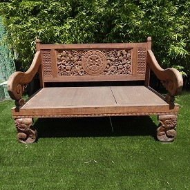 Carved Madura Bench
