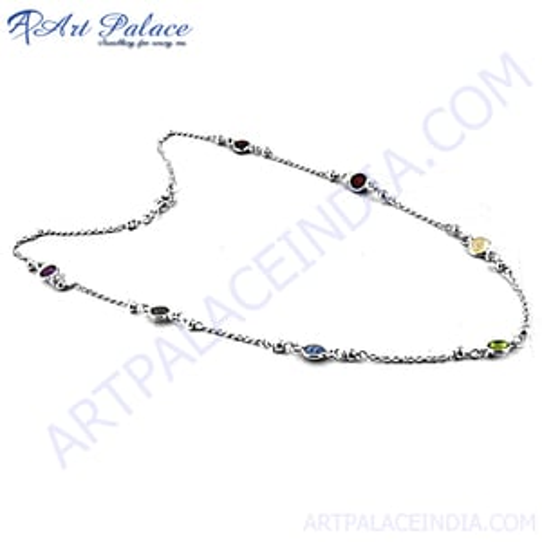 Multi Stone Simplicity Silver Necklace