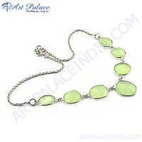 Hot!! Green Chalcedony Silver Necklace