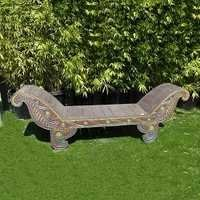 Balinese Carved Sleigh Bench