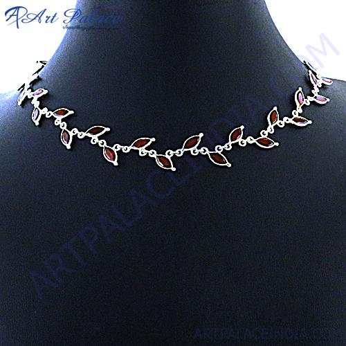 Designer Leaf Style Garnet Silver Necklace