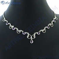 Most Fashionable Amethyst Silver Necklace