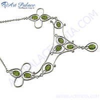 Most fashionable Green Peridot Silver Necklace