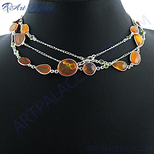 Orange Amber Peridot silver Necklace