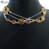 Orange Amber Peridot silver Necklace
