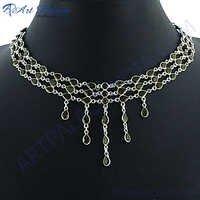 Unique Designer Smokey Quartz Silver Necklace