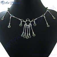 Party Wear Labradorite Silver Necklace