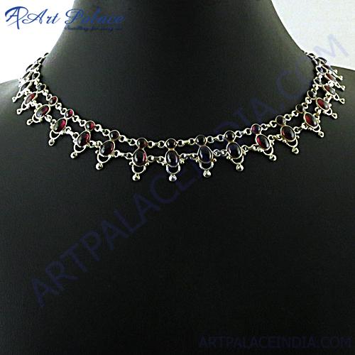 Fabulous Designer Garnet Silver Necklace