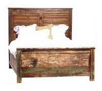 Reclaimed Wood Bed with Shutter framed Headboard