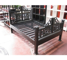Rajasthani Carved Wood Bed Frame (full size)
