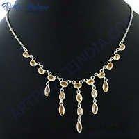 Brown Citrine Silver Necklace