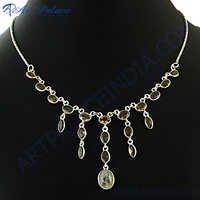 New Fashionable Gemstone Silver Necklace