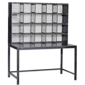 Industrial Desk with Mesh Iron Display Storage