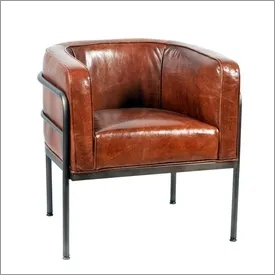 Leather Scoop Club Chair