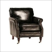 Aged Leather Club Chair with Brass Studs