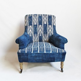 Indigo Ikat Arm Chair