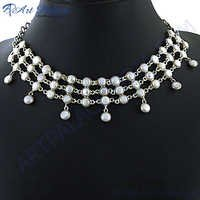 Antique White Pearl Silver Necklace