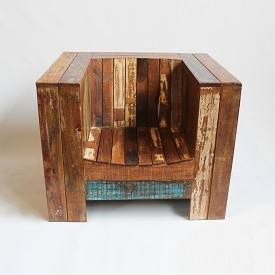 Reclaimed Wood Box Chair