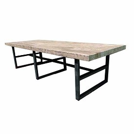 Reclaimed Wood and Iron Base Dining Table