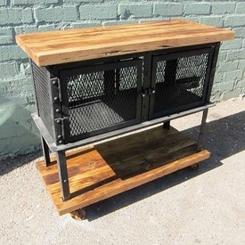 Reclaimed Wood and Iron Mesh Trolley Cart
