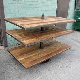 Reclaimed Wood and Iron Display Shelf Stand