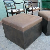 Aged Leather and Iron Ottoman