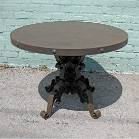 Industrial Iron Round Dining Table Scroll Table