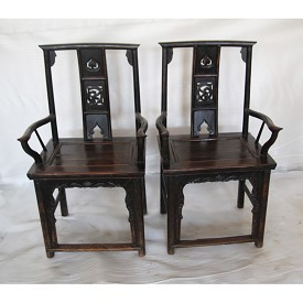 Original Elm Carved Back arm Chair