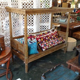 Bawean Carved Teak Canopy Daybed