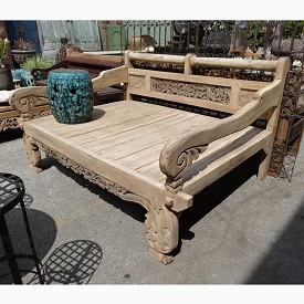 Teak Carved Daybed (full size)