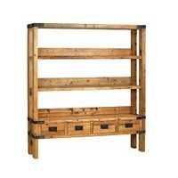 Reclaimed Wood Bookcase With Drawers