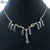 Popular Design Mutli Stone Silver Necklace