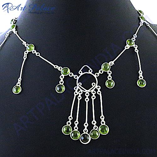 Lemon Quartz Party Wear Silver Necklace