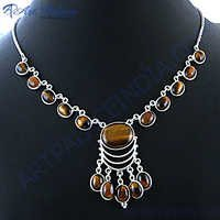 Latest Design Tiger Eye Silver Necklace