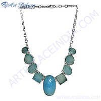 Chalcedony Gemstone Siver Necklace