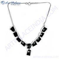 Beautiful Black Onyx Silver Necklace