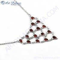 New Fashionable Garnet Silver Necklace