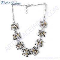 Citrine Gemstone Silver Necklace