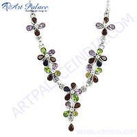 Amethyst Citrine  Garnet  Iolite  Gemstone Silver Necklace