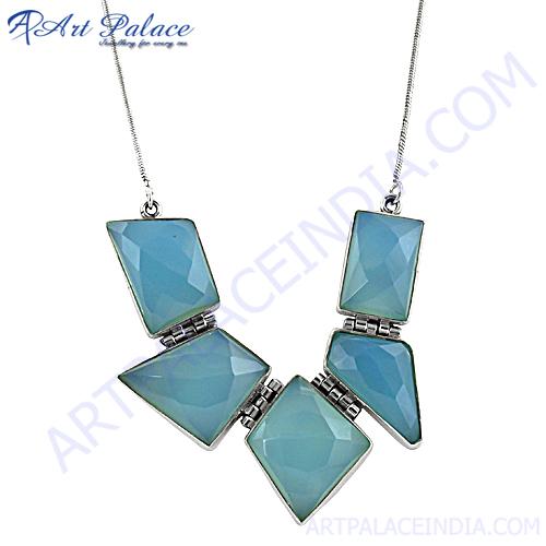 Fancy Chalcedony Silver Necklace