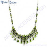 New Fashionable Peridot Silver Necklace