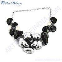 Black Onyx  Silver Necklace