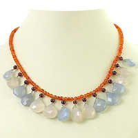 Trendy Charming Chalcedony  Garnet  Red Onyx Silver Necklace