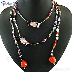 Hot Selling Long Silver Necklace Multi Gemstone Silver Necklace