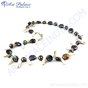 Black Pearl And Pearl Beaded Silver Necklace