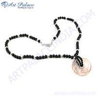 Rocking Style Black Onyx  Rose Quartz Silver Necklace