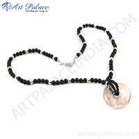 Rocking Style Black Onyx  Rose Quartz Silver Necklace
