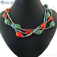Wholesale Handmade Red Onyx  Synthetic Coral & Synthetic Turquoise Beaded Necklace