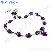 Impressive African Amethyst Silver Necklace