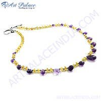 Fabulous Amethyst & Citrine & Garnet Silver Necklace